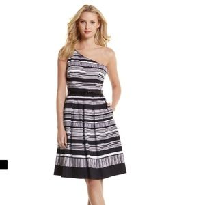 White House Black Market one shoulder dress Sz 12